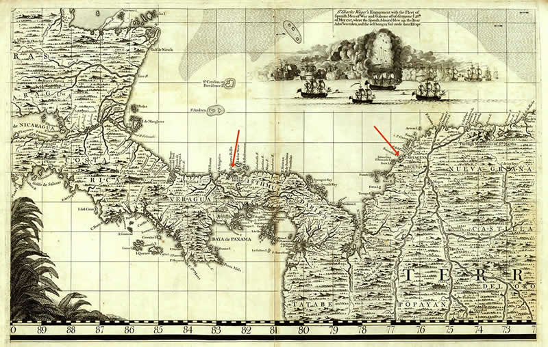 map of colombia and panama. An early map: Portobelo to
